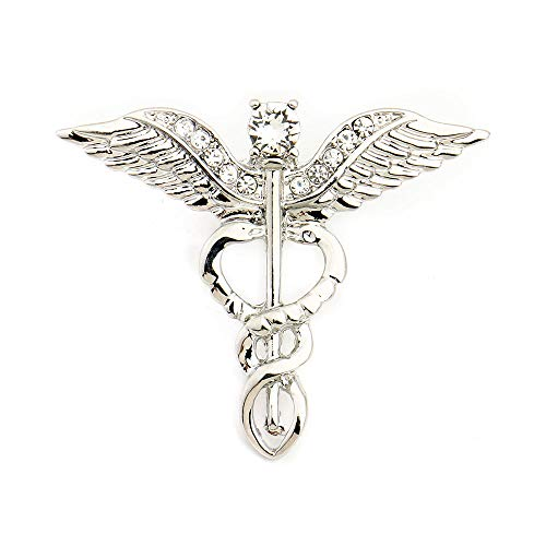 MIXIA Medical Symbol Caduceus RN Nursing Badge Brooches Lapel Pin for Registered Nurse Doctor Rod of Asclepius Emergency Brooch Jewelry (Angel Wing-Silver)