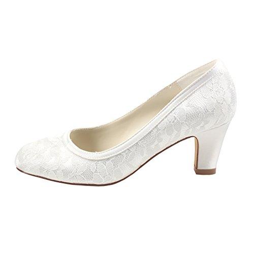 de de aiment Ivoire soie des pompes mariée La chunky femmes fendu le Emily satin de joint les Bridal chaussures talon avec EnxqWA1