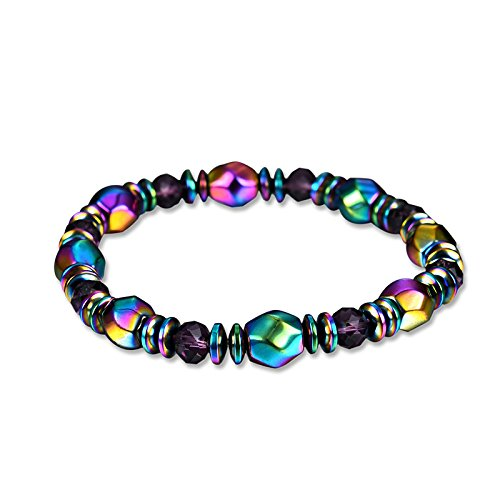 Magnetic Healthcare Bracelet MEIQING Weight Loss Magnetic Therapy Round Stone Bracelet Health Care Black (Rainbow)