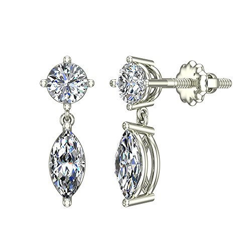 1.10 ct tw Round & Marquise Drop Two stone Diamond Dangle Earrings 14K White (14k White Gold Diamond Dangle Earrings)