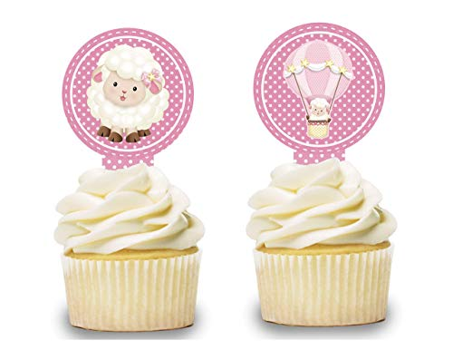 Pink Sheep Cupcake Toppers 12 PCS, Cake Picks, Baby Shower, Birthday Party Decorations Supplies, Hot Air Balloon, Lamb Baby -