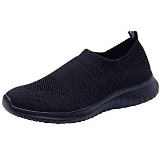LANCROP Women's Lightweight Walking Shoes - Casual Breathable Mesh Slip on Sneakers 9.5 US, Label 41 All Black