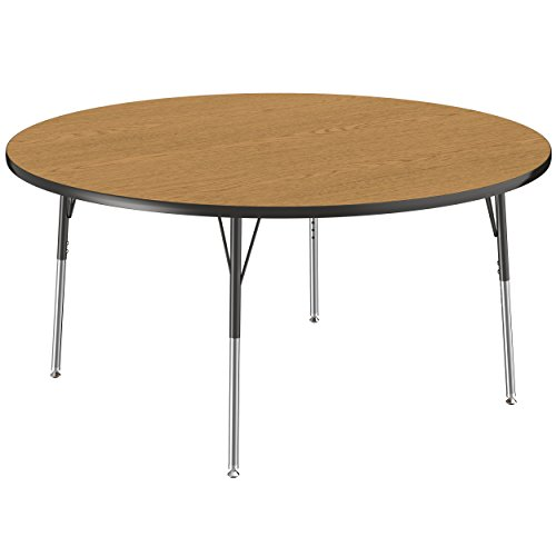 ECR4Kids Everyday T-Mold 60″ Round Activity School Table, Standard Legs w/Swivel Glides, Adjustable Height 19-30 inch (Oak/Black) Review