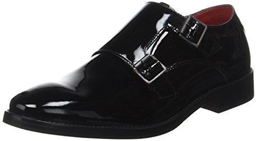 Base London Herren Nash Slipper Schwarz - Noir (Patent Black)
