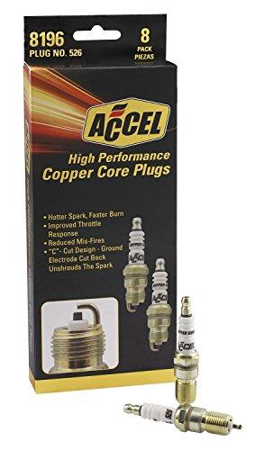ACCEL 8196 U-Groove Resistor Spark Plug 14mm Thread .708 in. Reach Heat Range 6 8 Pack U-Groove Resistor Spark Plug Spark Plug Heat Ranges