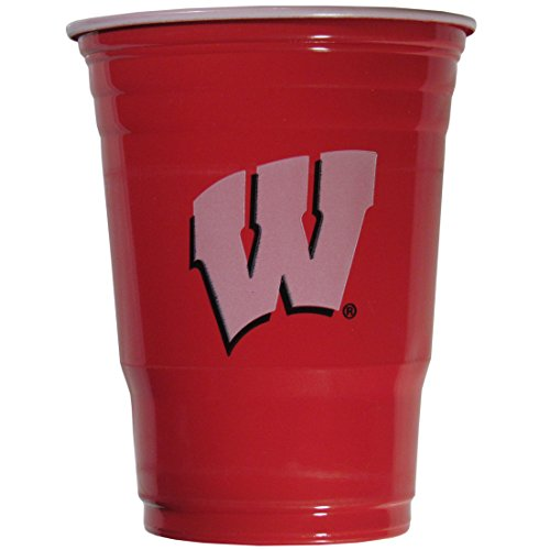 NCAA Plastic Game Day Cups, Wisconsin Badgers,18-Ounce, Sleeve of 18 cups