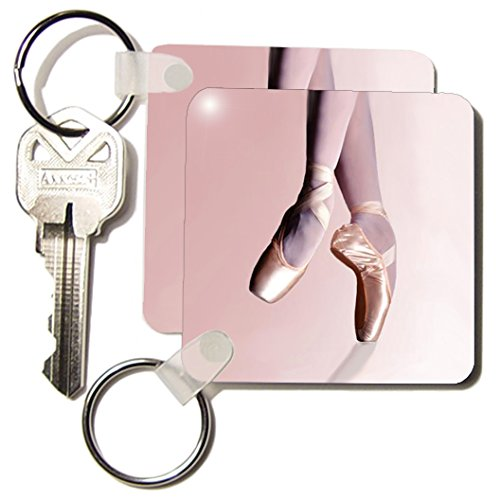 3dRose Ballet Slippers - Key Chains, 2.25 x 4.5 inches, set of 2 (Slipper Hardware Set)