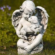 Roman, Inc. Cherub with Puppy Statue ()