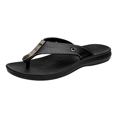 Verano Chanclas de Deslizamiento al Libre Hombres Aire los de Chanclas hibote la Sandalias Chanclas Negro Zapatos Playa Hombres de Chancleta Plano Cuero los de en Zapatilla la Casual de de xv8U1w