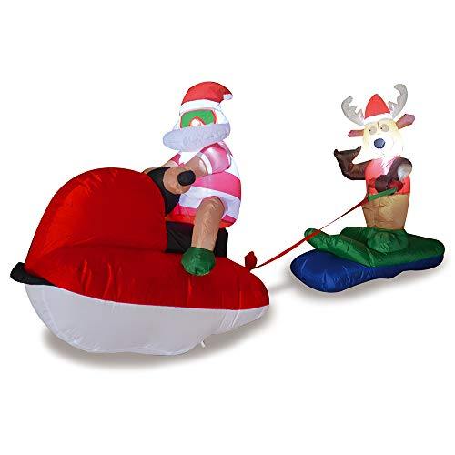 Phoenixreal 4 Foot Christmas Inflatables Airblown Santa and Reindeer on Sled Xmas Blow up for Outdoor Lawn Yard Decoration -