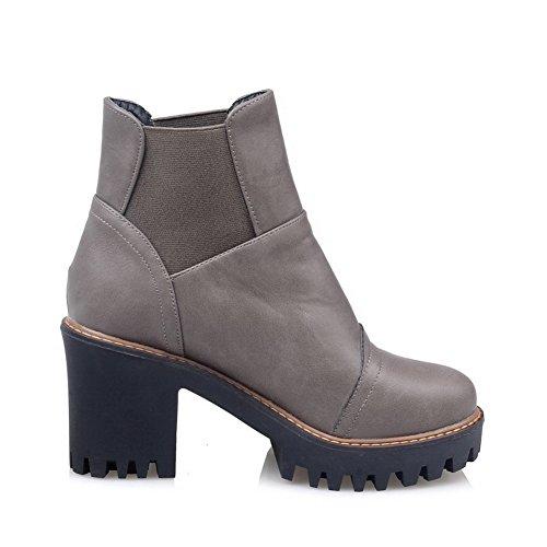 Chunky Leather Elastic Gray Boots Platform Imitated Band Heels BalaMasa Womens pHOqRF