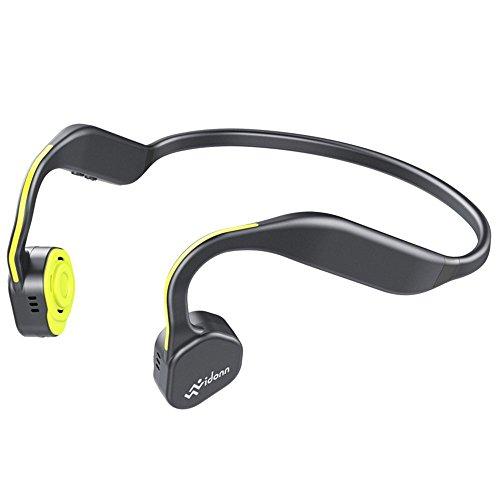 Bone Conduction Headphones, Vidonn F1 Titanium Open Ear Wireless Sports Headset(Gray-Yellow)