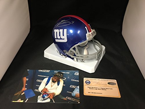 Odell Beckham Jr Autographed Signed New York Giants Mini Helmet Salute To Service US Army Custom Decals On Helmet Steiner Sports COA & Hologram from Signature Dog Autographs