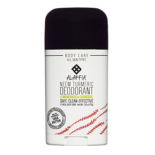 Alaffia - Neem Turmeric Activated Charcoal Deodorant, Odor Protection and Support from Shea Butter and Aloe Vera, Fair Trade, No Aluminum, No Parabens, Lemongrass Tea Tree, 2.65 Ounces ()