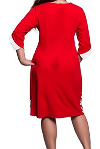 Red Solid Sexy A Line Lacework Oversized Crochet Women Coolred Flared Dress SqOwIvqX