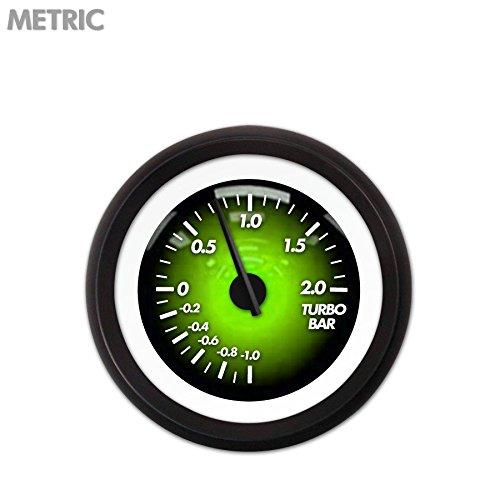 Aurora Instruments 5539 Pulsar Green Metric Turbo Gauge Black Modern Needles, Black Trim Rings, Style Kit Installed