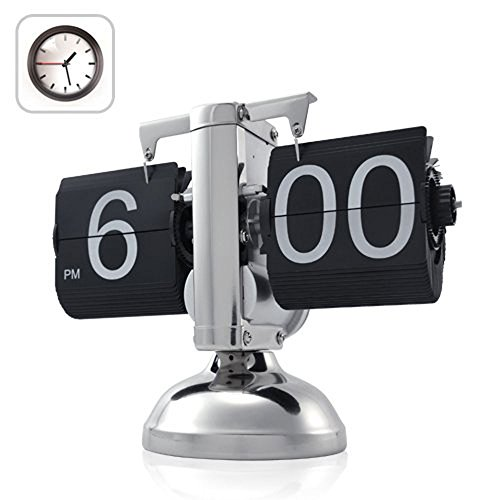 niceeshop(TM) Retro Flip Down Clock , Internal Gear Operated,Black