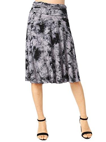 Fold Over Flare Skirt - DJT FASHION Women's Basic Tie-Dye Skirts,Summer Basic Solid Stretch Fold-Over Flare Knee Length Knit Skirt M Grey Tie-Dye 1