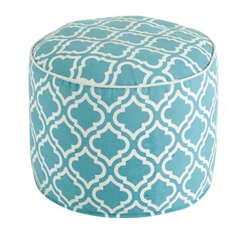 Ashley Geometric Cylinder Pouf in Turquoise