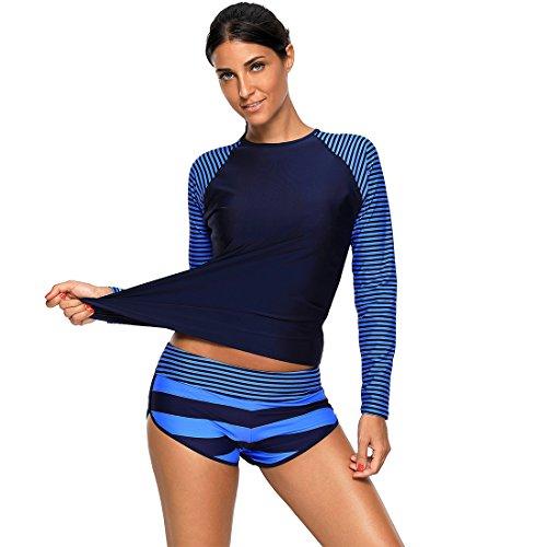 2 Piece Nylon Tankini - Richardy Women's Navy Stripes Long Sleeve Rashguard 2 Piece Tankini Swimsuit Swimwear High Neck Bathing-Suit Beachwear