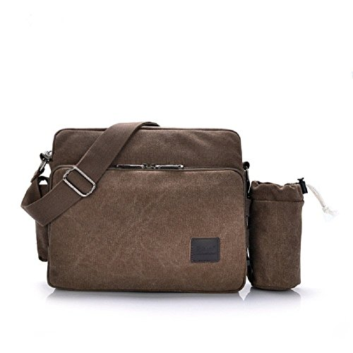 messenger bag for women, Multifunction Versatile CanvasMens Womens Handbag Messenger Shoulder Bag for iPad Leisure Change Packet with Small Water Bag Coffee by MiCoolker (Image #1)