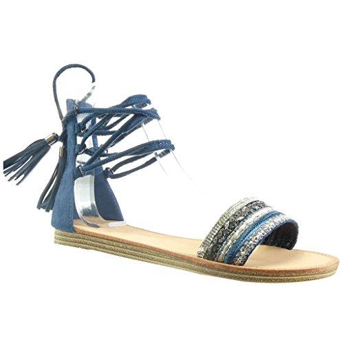 Angkorly - Chaussure Mode Sandale spartiates femme frange pom-pom strass diamant Talon plat 1 CM - Bleu