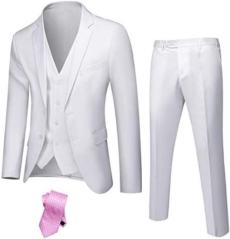 Solid Blazer Jacket Vest Pants /& Tie YND Mens Slim Fit 2 Button 3 Piece Suit Set