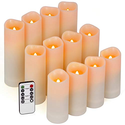 Flameless Candles, Outdoor Candles Led Candles Set of 12 (D 2.2'' X H 4''5''6'') Ivory Resin Candles Waterproof Candles with Remote Timer -