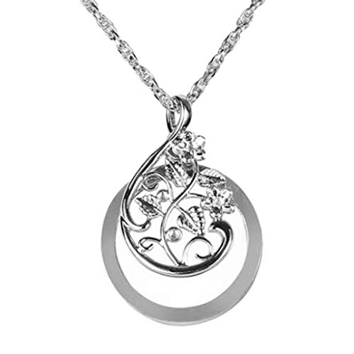 (CliPons Filigree 4.5X Zoom Magnifying Glass Crystal Flower Pendant Necklace Silver Plated for Women Girls)