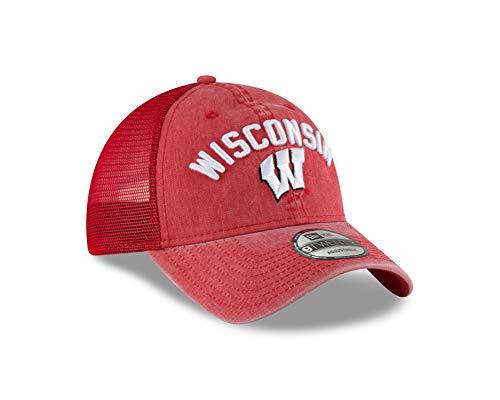 Rugged Trucker Cap - New Era Wisconsin Badgers Rugged Stack 9TWENTY Adjustable Hat/Cap