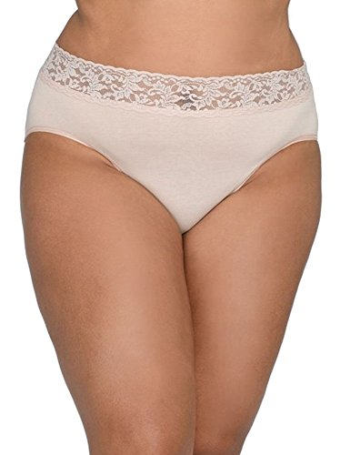 Hanky Panky Women's Plus Size Organic Cotton Signature Lace French Brief Chai - Panky Boyshort Chai Underwear Hanky