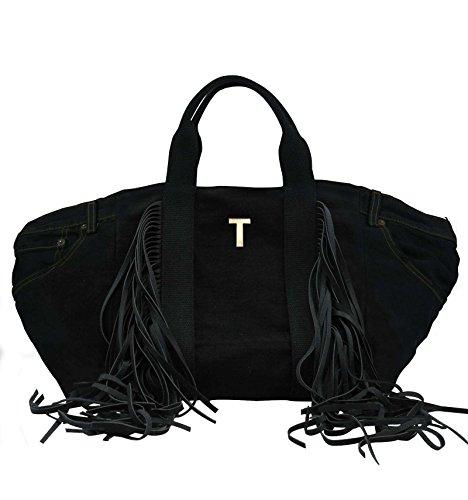 Borsa Shopper in jeans nero personalizzata con iniziali in metallo - nero, T