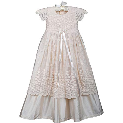 Michealboy Girls Lace Christening Gown Silk Baptism Dress Set Wedding Ivory