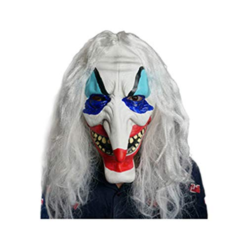 (JIAAE Halloween Mask Horror Latex Painted Long Nose Clown Headgear Prom and Party)