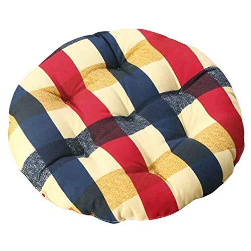 PANDA SUPERSTORE Red/Blue - 40cm Cotton Chair Pad Futon Cushion Floor Round Seat Cushion Tatami