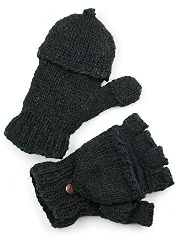 TCG Women's Hand Knit Wool Glittens - Black by Three Cranes Gallery