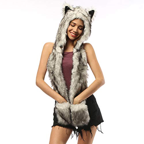 Husky Hat Men Winter Hats Furry Animal Hood Scarf Mittens Ears Paws Novelty Faux Fur Hoodie Halloween Cosplay Costumes (Black Husky) -