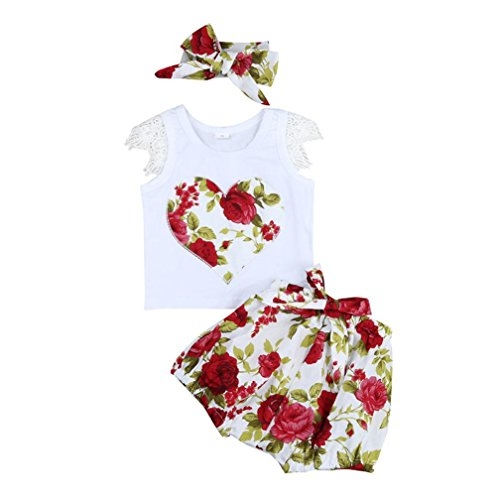FEITONG Princess Baby Girl Lace Sleeve Kid Tops T-shirt+Floral Shorts Pants Outfits Set Clothes ()