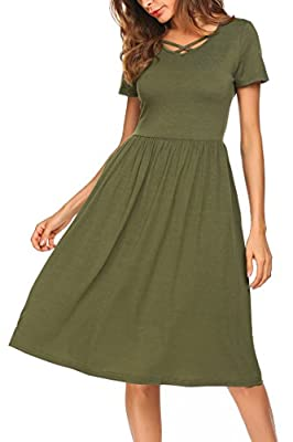 Pasttry Women's Midi Dress Criss Cross Loose Swing Casual Pleated Dress with Pockets