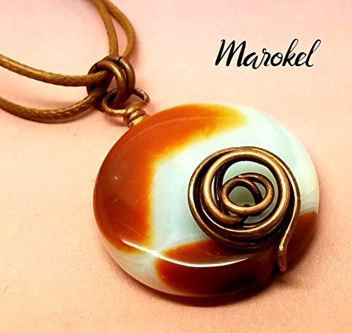 Red Agate Disc Necklace Copper Wire Rosette