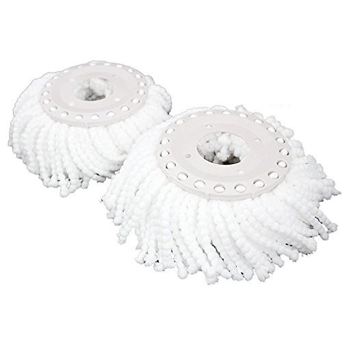 Dust Spin Mop Microfiber Refill Pads for Most Spin Mops Premium and Super Absorbent Mop Replacement Head Accessories for Hardwood Floors Wet and Dry Cleaning System by Kp Solutions (2 Pack)