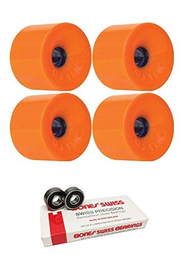 Juice Thunder - Oj Wheels 75mm Thunder Juice Longboard Skateboard Wheels with Bones Bearings - 8mm Bones Swiss Skateboard Bearings - Bundle of 2 items