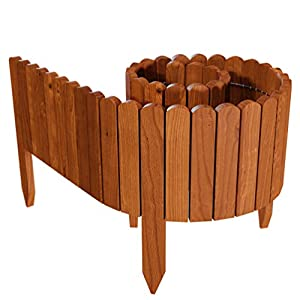 Floranica® Spiked Log Roll Border as Easy Plug-in Fence, Palisade, 203 cm long as Wooden Edging for Flower Beds, Lawns And Paths – Weatherproof Impregnated, Color:brown, Height:20 cm