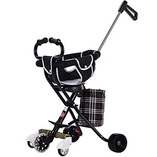 Carro de los niños, triciclo 1-3-2-6 años de edad carro de bebé ligero plegable con sistema de seguridad y multi-posición...