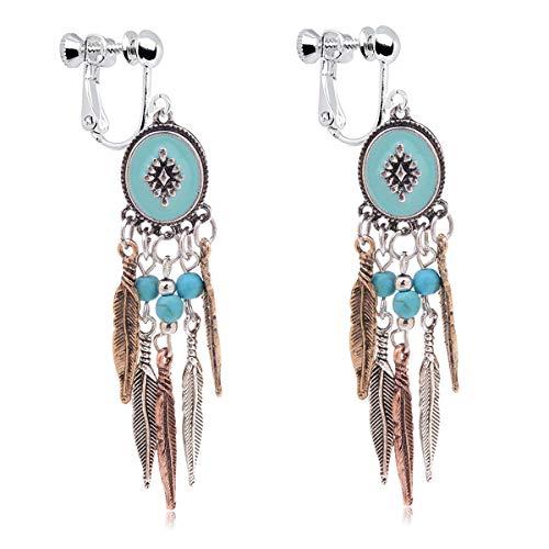 Clip on Earrings Teardrop Simulated Turquoise Dangle Earrings Jewelry for Women Girl ()