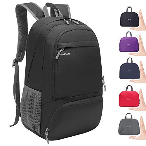 MRPLUM 25L Lightweight Packable Backpack for Travel Water Resistant Folding Rucksack Outdoor Sport Hiking Daypack Bag (Black)