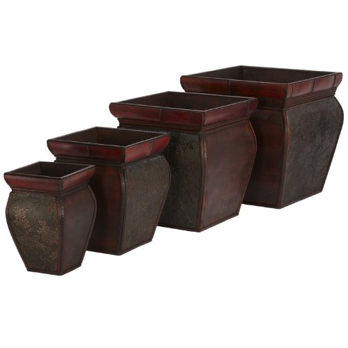 Rim Square Planters - Nearly Natural 0523 Square Planters with Rim (Set of 4) Brown