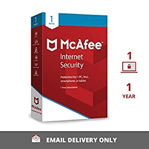 McAfee Internet Security (Windows / Mac / Android / iOS) – 1 User, 1 Year (Email Delivery in 2 hours- No CD)