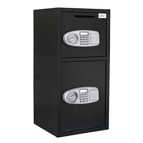 ZENY Large Security Safe Box Double Door Depository Safe Steel Safe Box Digital Drop Safe Depository for Home Office Money Gun Jewelry - Floor Door Safe