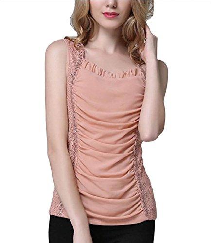 非公式湿度部Tootess 婦人用フリルチュニックタンクトップシャツのステッチのセクシーな特大のレース